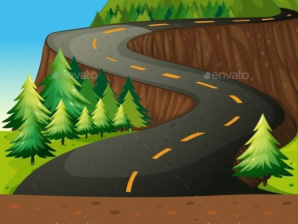 Winding road with forest nature theme.