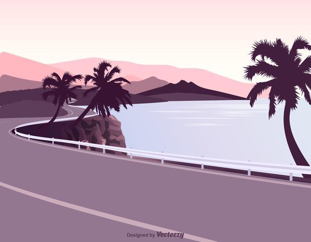 Coastal Road With Guardrail Vector Illustration.