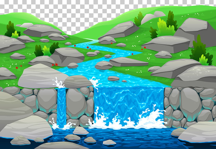 Cartoon River , Water Falling s PNG clipart.