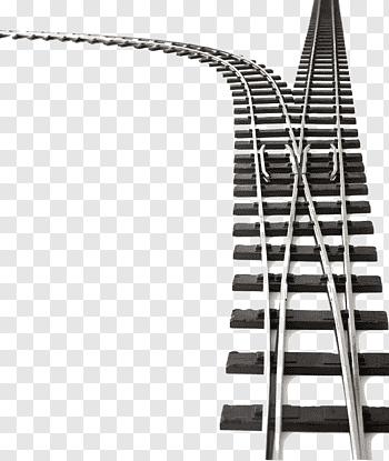 Two brown and grey train rails illustration, Train Rail.