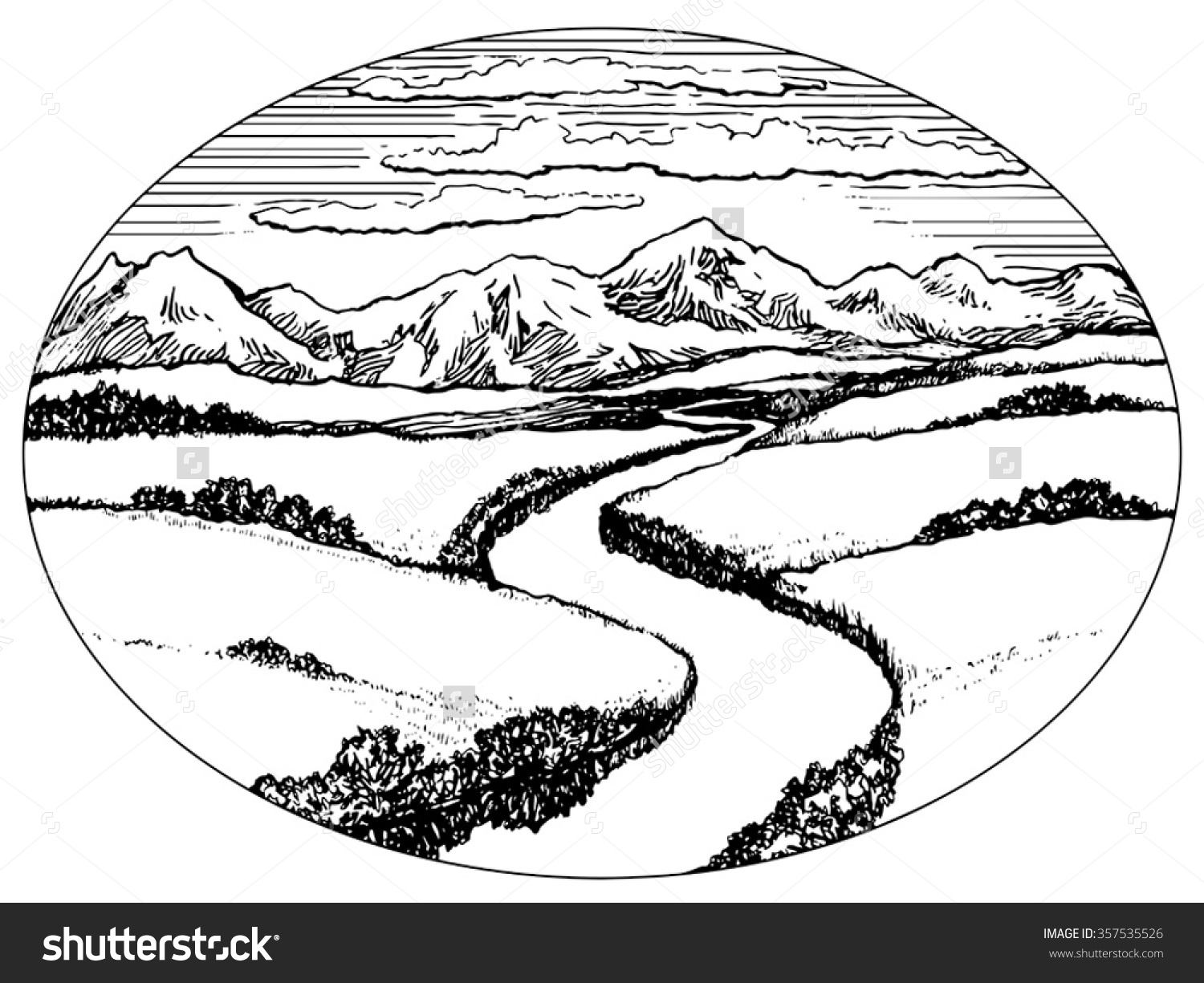 Black And White River Clipart.