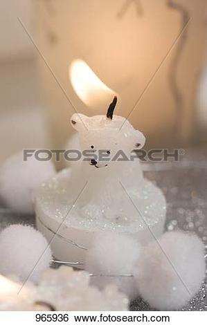 Stock Images of Christmas decoration: polar bear candle and.