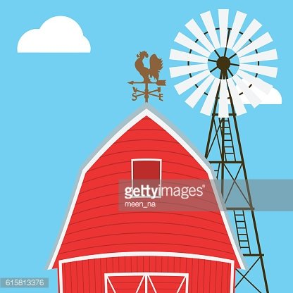 Farm windmill, barn, fence, house, field Clipart Image.