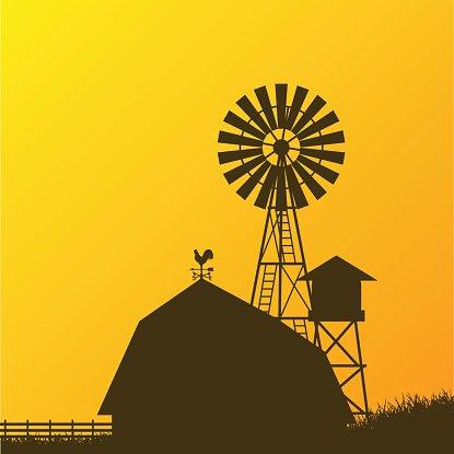 Farm Windmill, Barn, Fence, House, premium clipart.