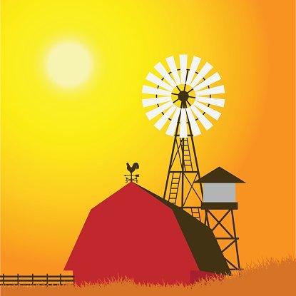 Farm windmill, barn, fence, house, field. Clipart Image.