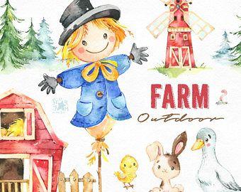Farm. Outdoor. Watercolor country clipart, scarecrow, bunny.