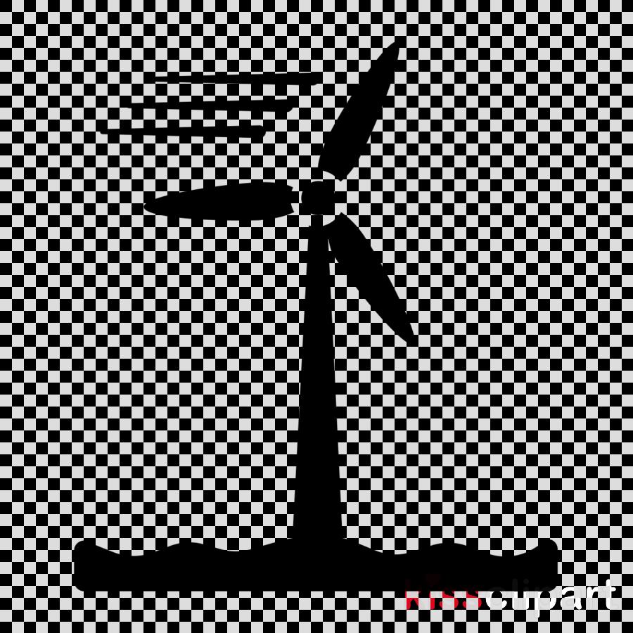 black wind turbine windmill wind line clipart.