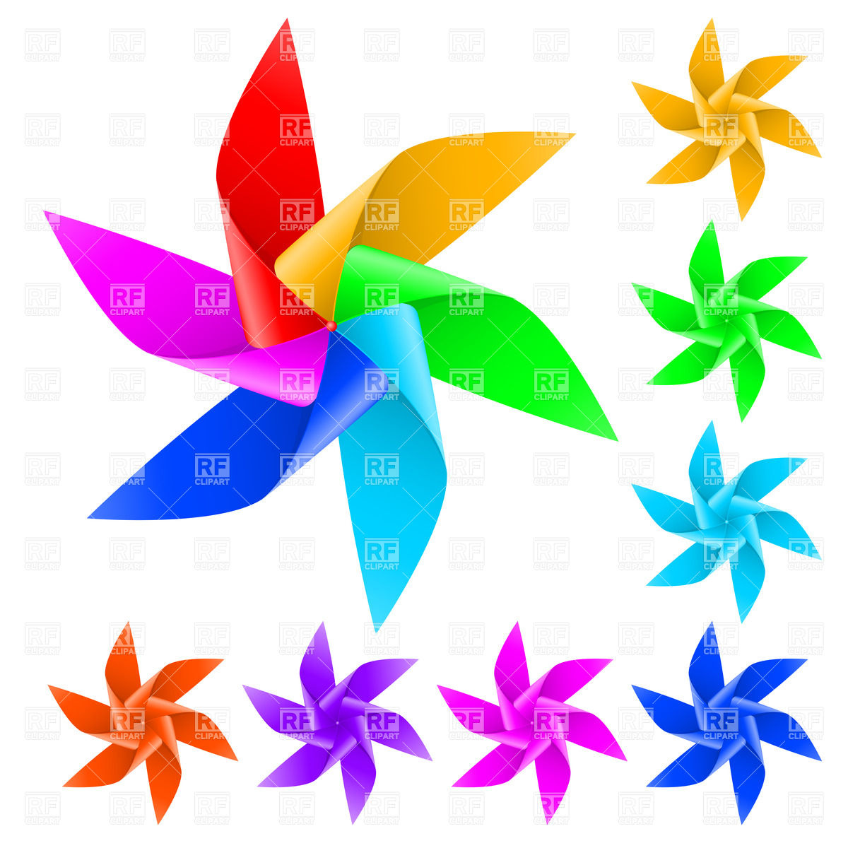 Toy windmill propeller with multicolored blades Vector Image.