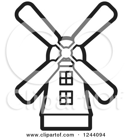 Clipart of a Black and White Windmill.