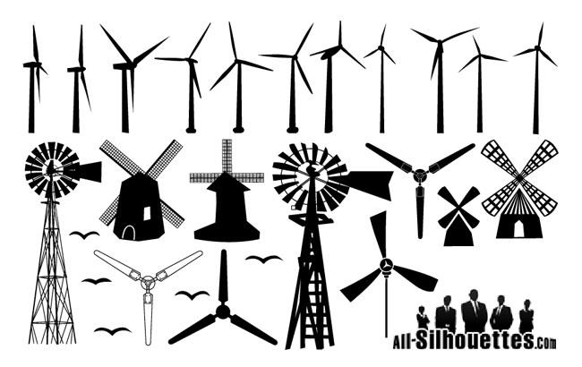 Clipart windmill silhouette.