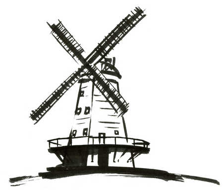 Windmill Clipart Black And White.