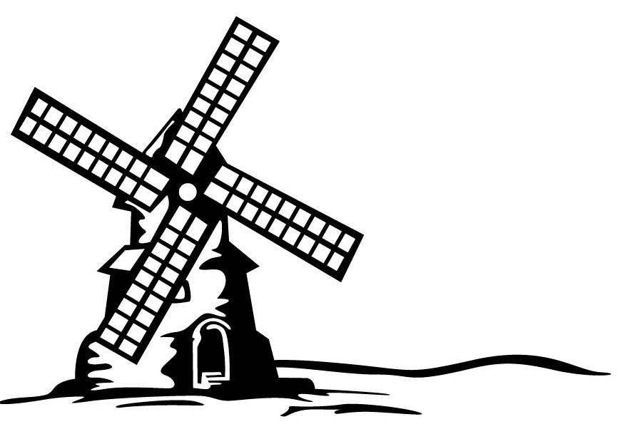 Free Windmill Clipart Black And White, Download Free Clip.
