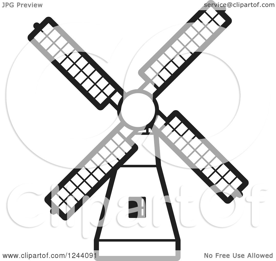Clipart of a Black and White Windmill 3.
