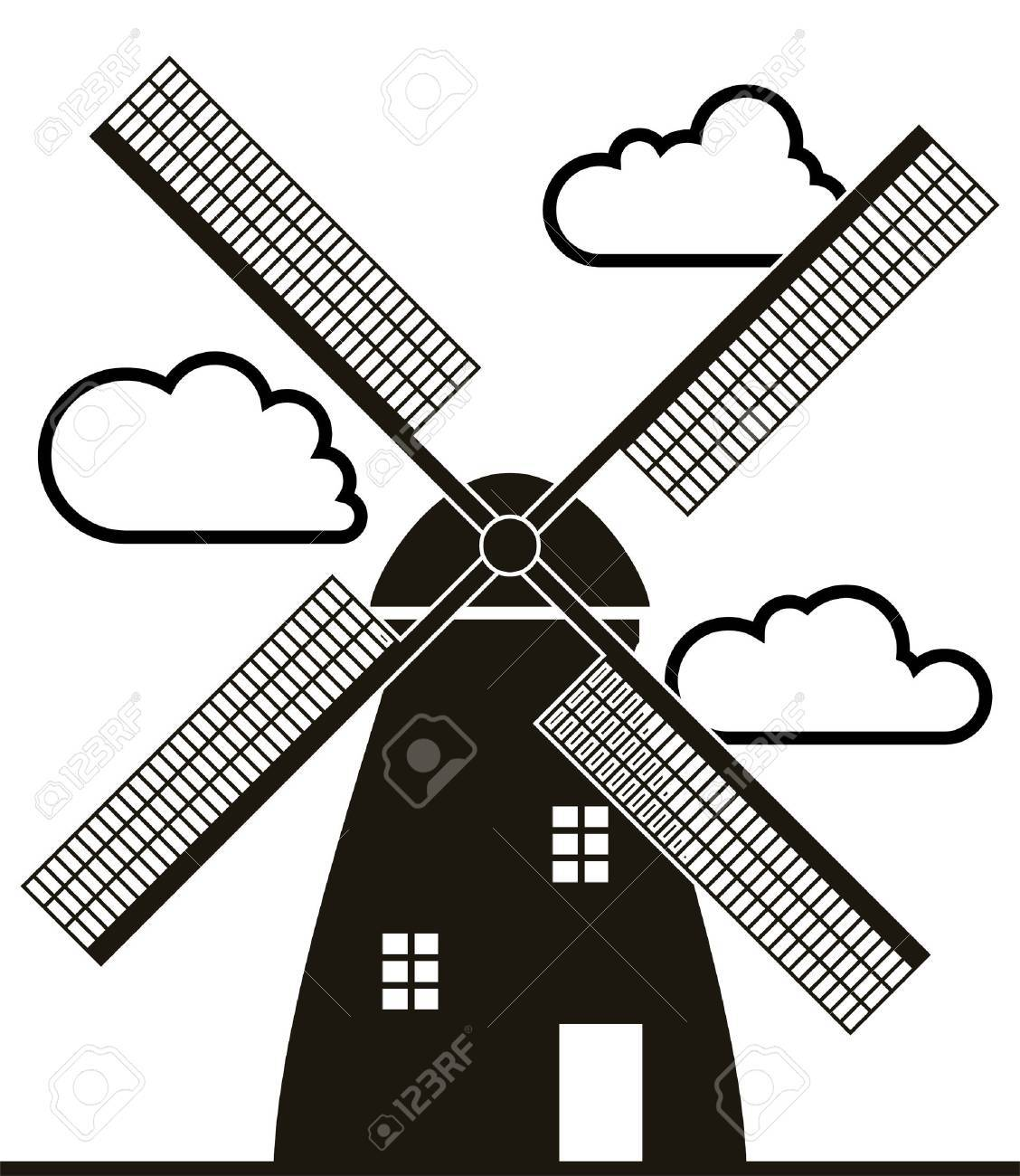 Windmill clipart black and white 6 » Clipart Portal.