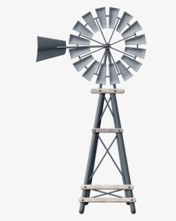 Free Windmill Black And White Clip Art with No Background.