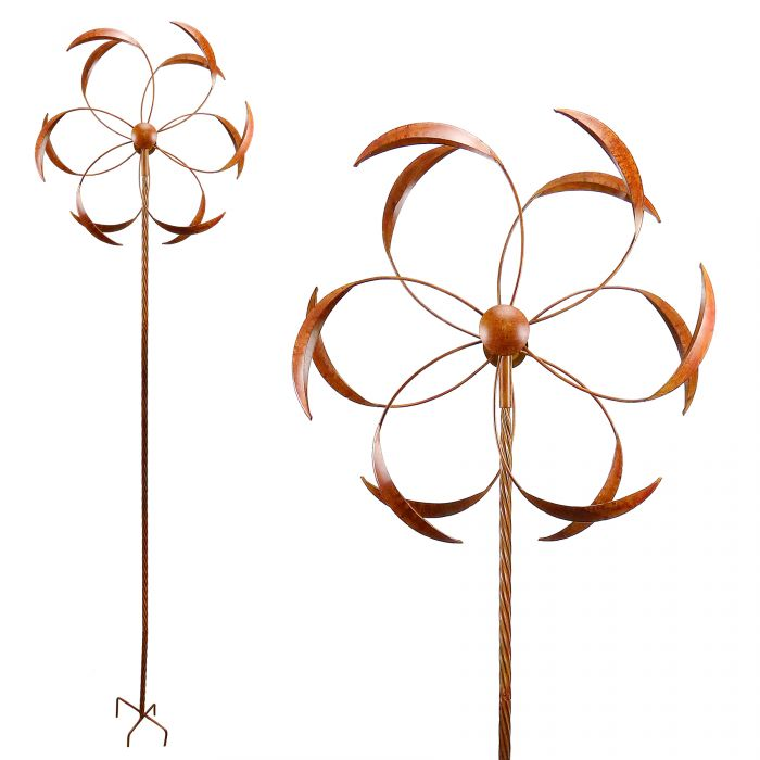 Alpine Metallic Windmill Spinner Garden Stake with Rustic Finish NCY350.