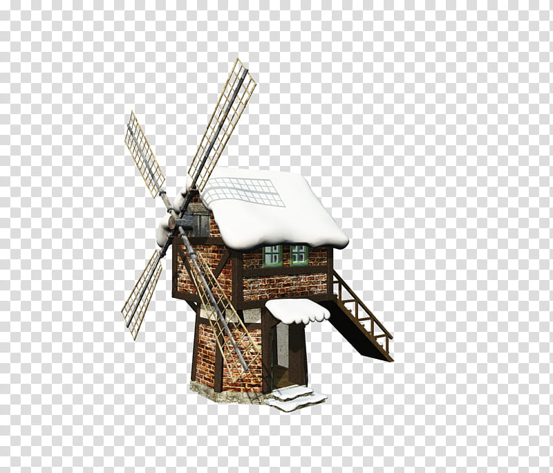 D Snowy Windmill, brown and white windmill art transparent.