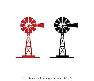 Black and Red Windmill Illustration Symbol Logo Vector.
