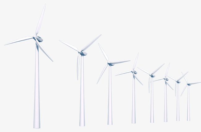 A Row Of Windmills, Windmill, Electricity Generation, Wind Power.