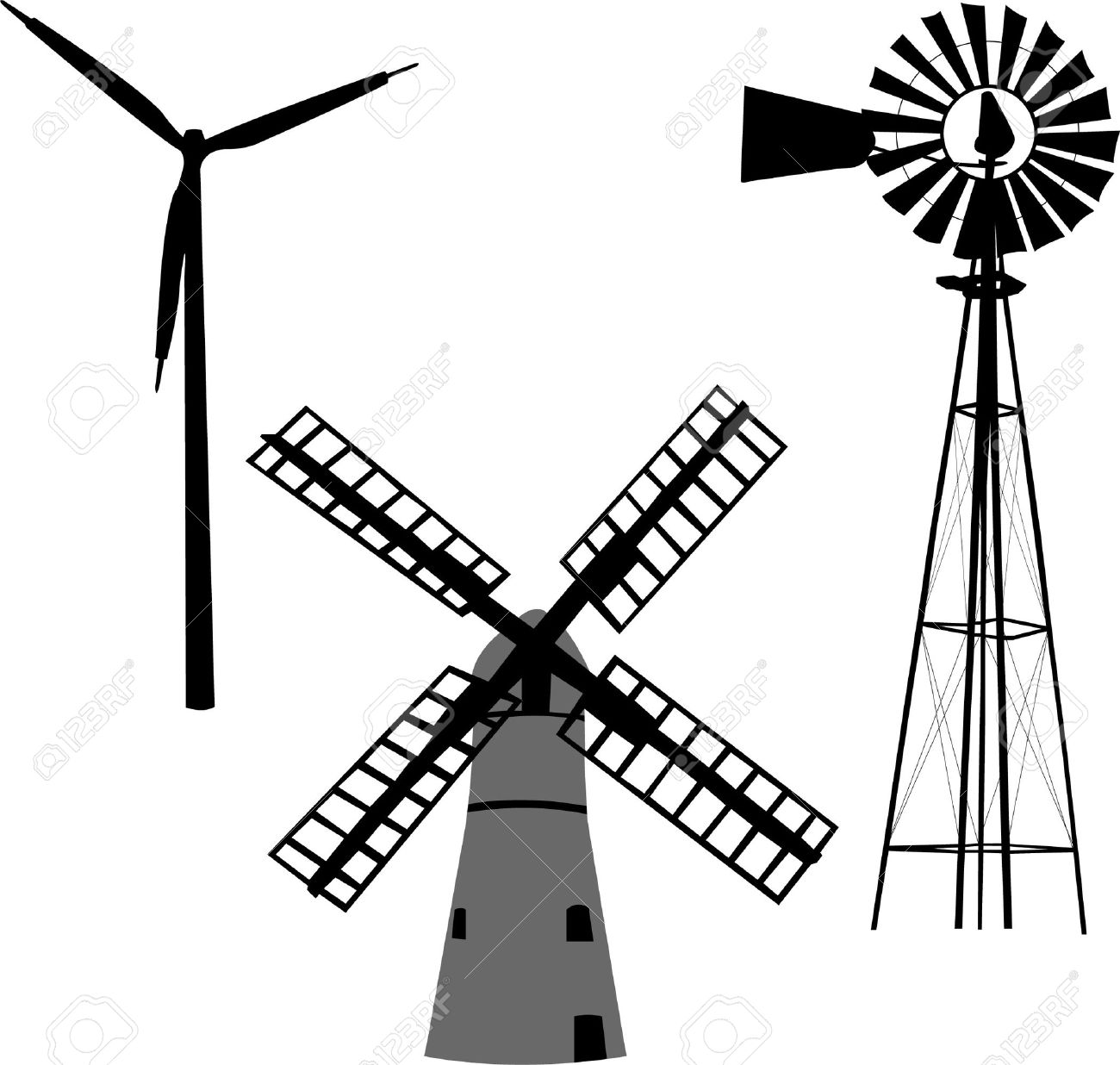 silhouette of windmill.
