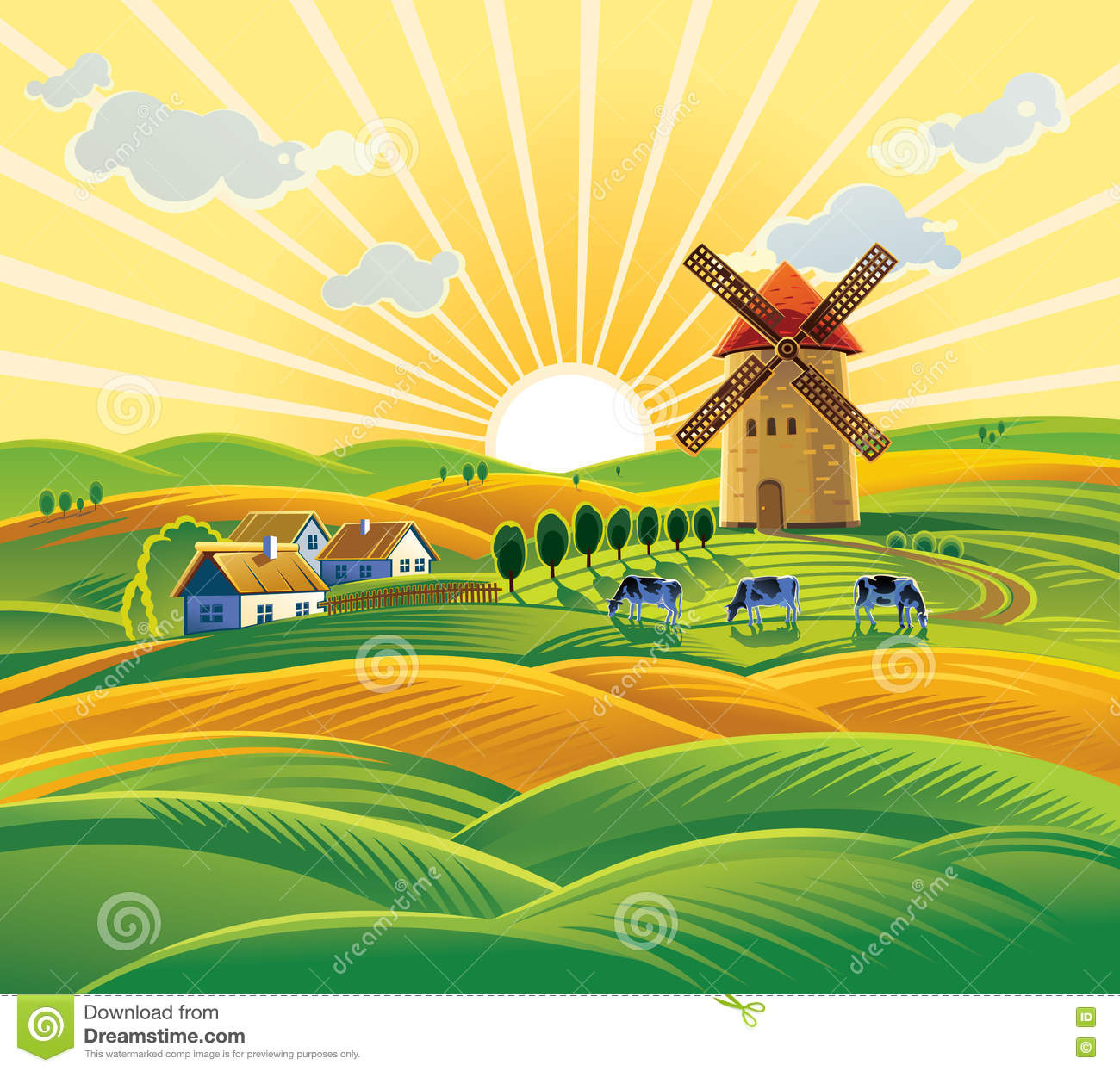 Rural Landscape With A Windmill. Stock Vector.