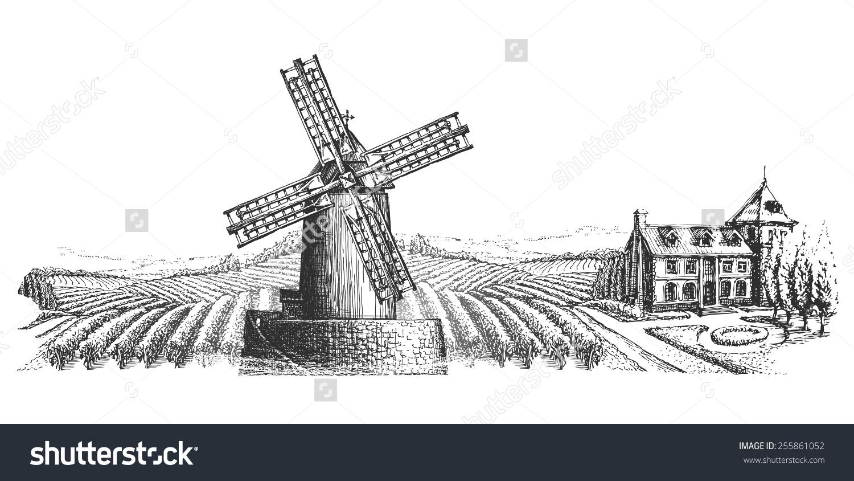 Windmill Vector Logo Design Template Harvest Stock Vector.