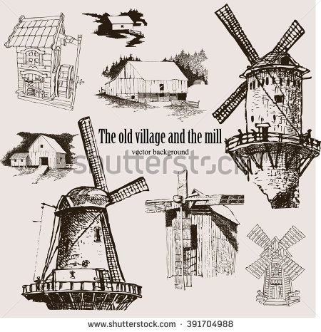 Windmill Sketch Style Seamless Pattern Vector Stock Vector.