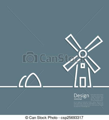 Vector Clip Art of Illustration village landscape windmill.