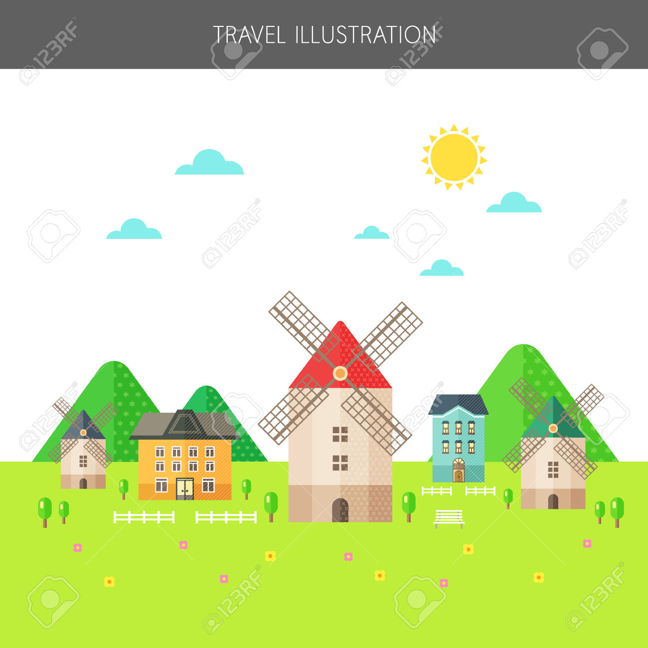 Dutch Windmill Village Royalty Free Cliparts, Vectors, And Stock.