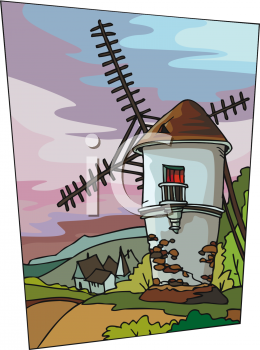 This Dutch Windmill With A Village In The Distance Clip Art Image.