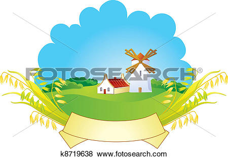 Clip Art of Small village with windmill k8719638.