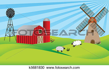 Clipart of Farmland with barn and windmill k5681830.