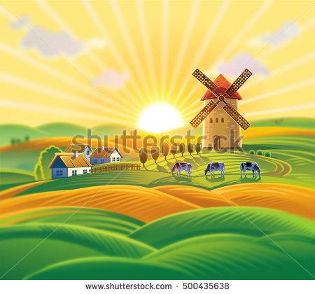 Rural Landscape Windmill Village Herd Cows Stock Vector 489162373.