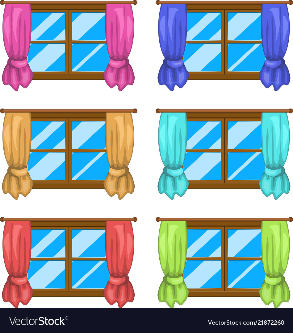 Cartoon window with curtains symbol icon design.