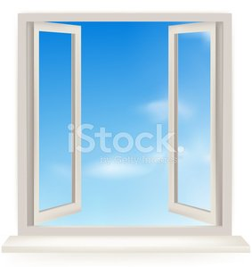 Open window with the sky and sun. Clipart Image.
