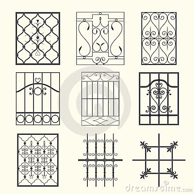 Decorative Forged Metal Window Bars Stock Illustrations.