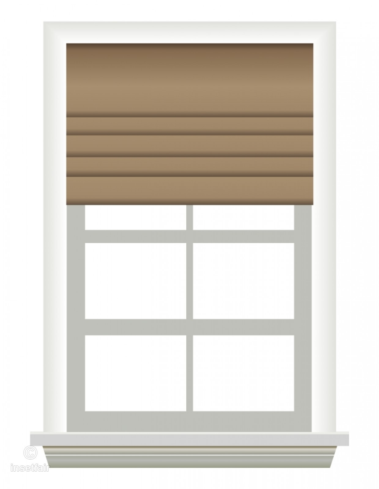 Window with open curtain blinds vector free PNG image.