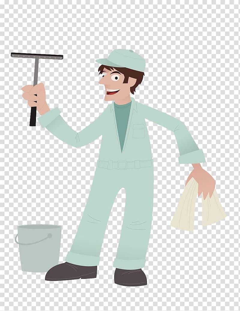 Window cleaner Illustration, Cartoon cleaners clean windows.