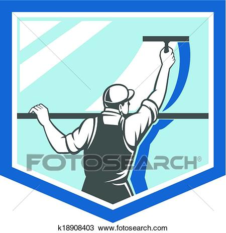 Window Cleaner Washer Worker Shield Retro Clipart.
