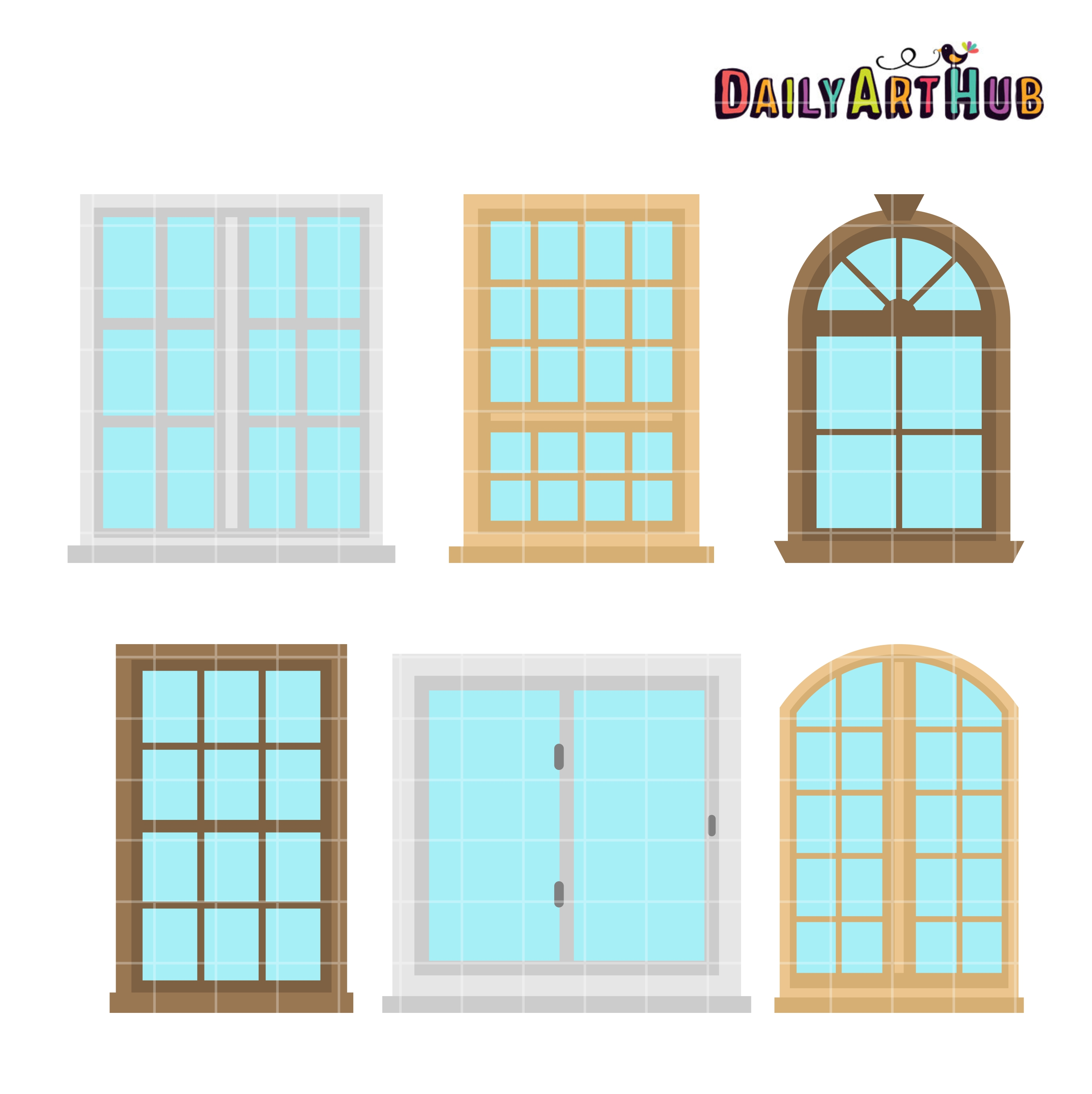 House Windows Clip Art Set.
