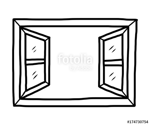 open window / cartoon vector and illustration, black and white, hand.