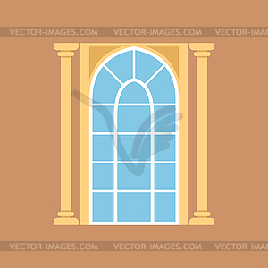 Flat window on brown wall decorated with columns.
