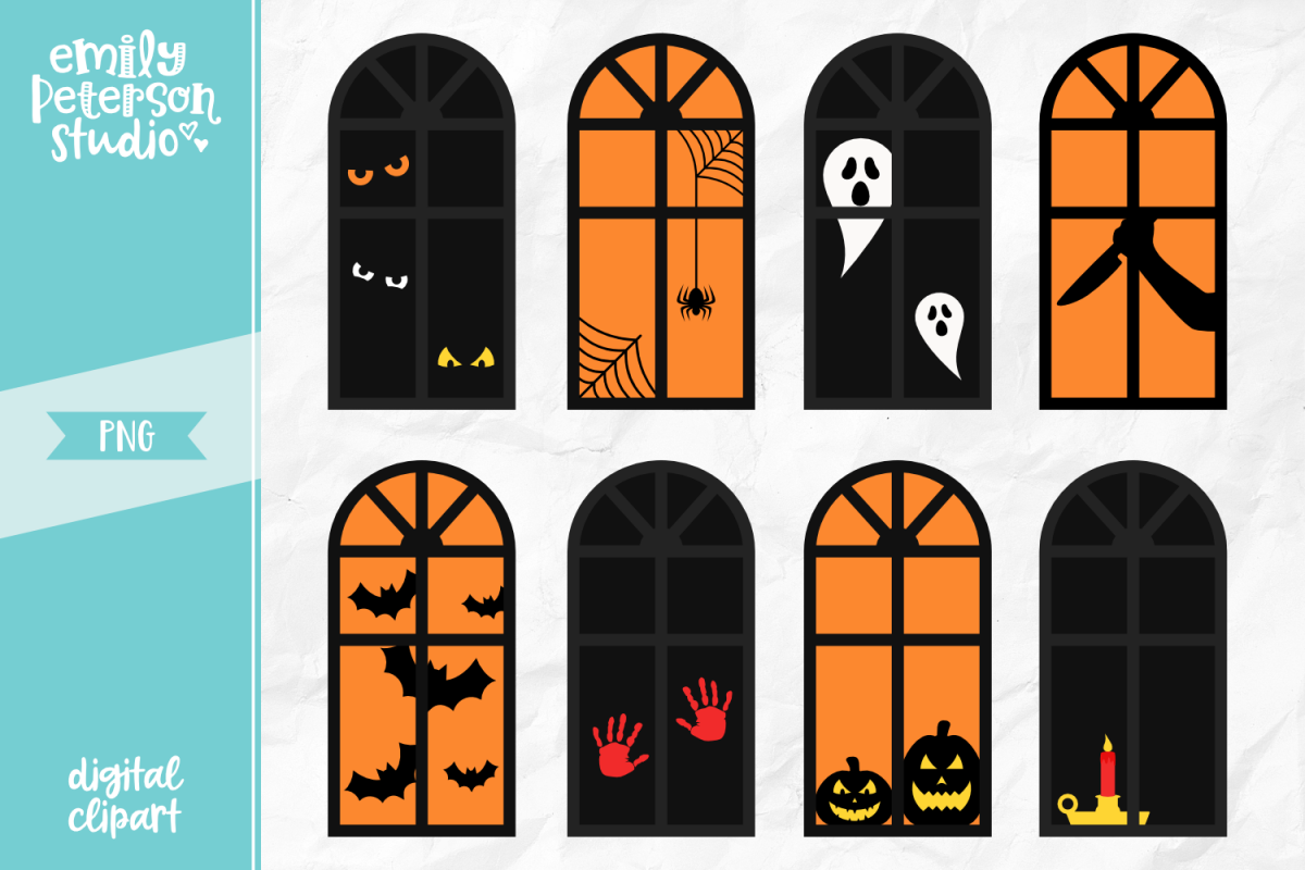 Halloween Windows Clipart Illustration PNG.