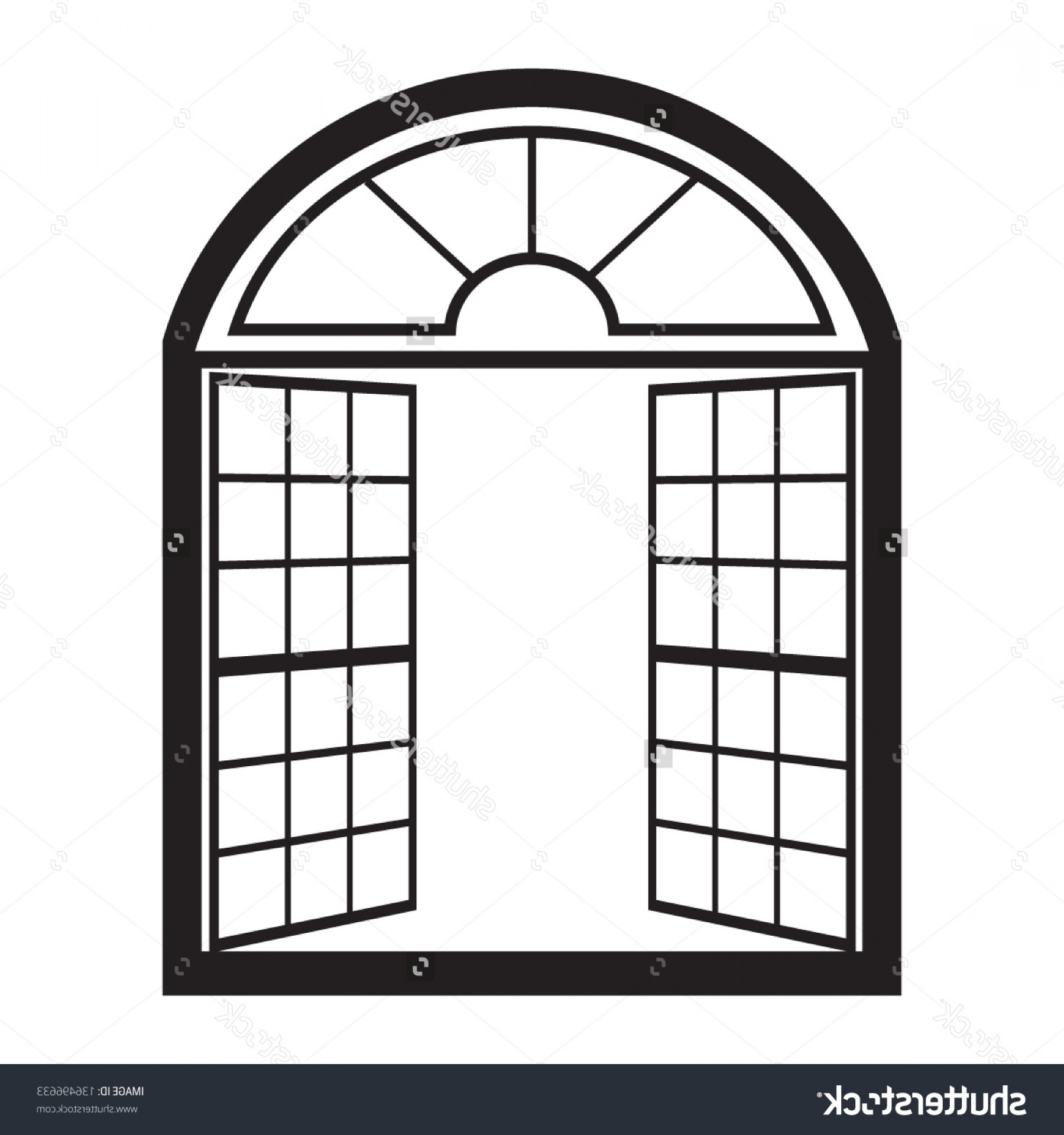 Best Two Sections Open Plastic Window Vector Clipart Layout.