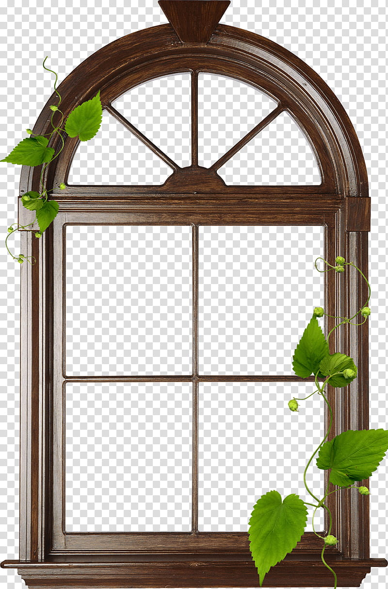 brown wooden arch glass window transparent background PNG.