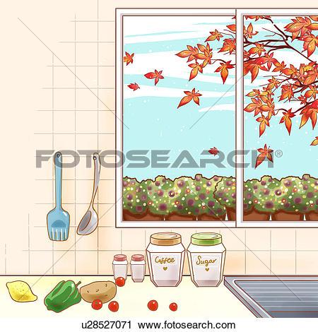 Clipart of autumn, kitchen, maple tree, tree, window, autumn color.
