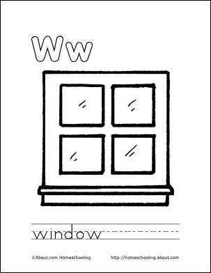 House window clipart coloring sheet.
