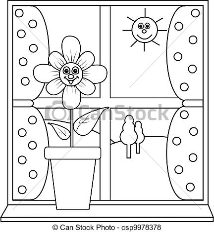 Vector of Flower at window to colour in.