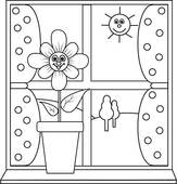 Clip Art of Flower at window to colour in k9978378.