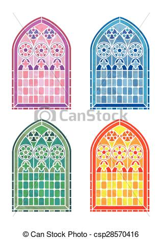 Vector Clip Art of Stained glass window stencils in four colour.